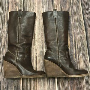 Frye Caroline Campus Brown Tall Wedge Boots, 7.5